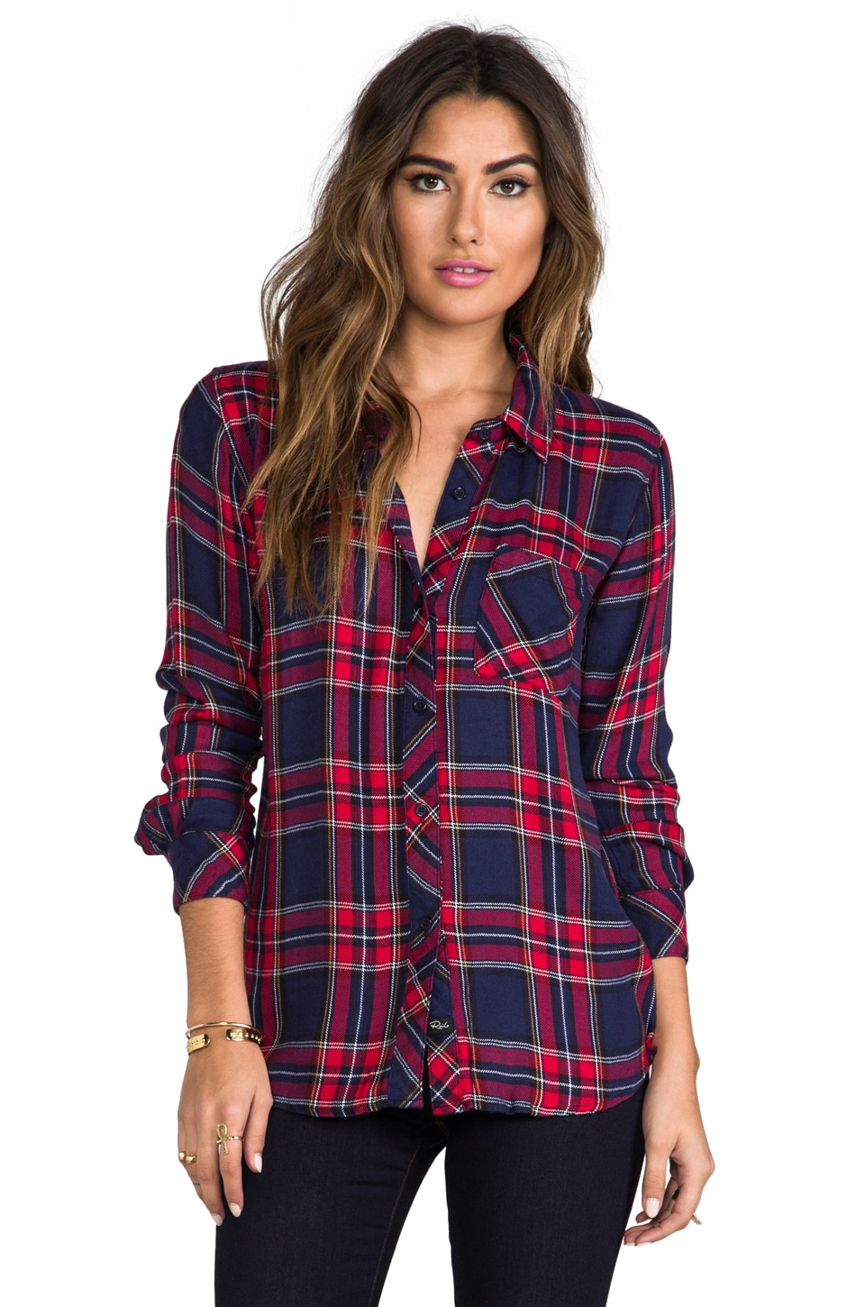 Rails Hunter Button Down in Navy/Red