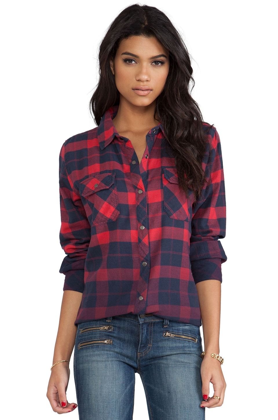 Rails Erin Shirt in Red & Navy Ombre