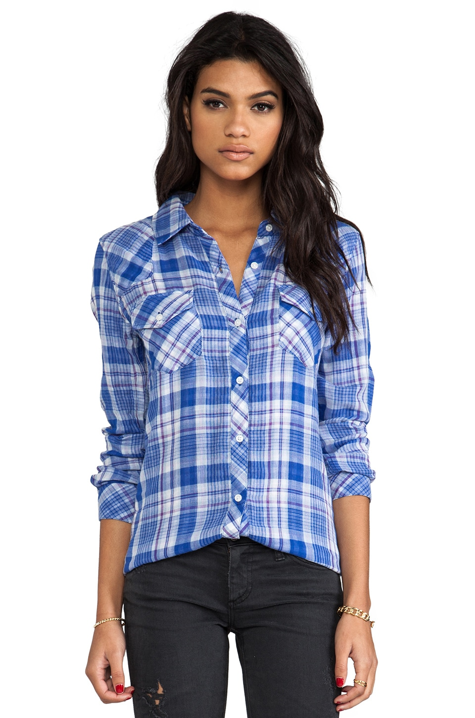 Rails Kendra Button Down in Blue & Purple