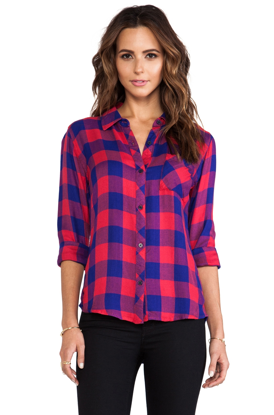Rails Hunter Button Down in Cranberry & Cobalt Check
