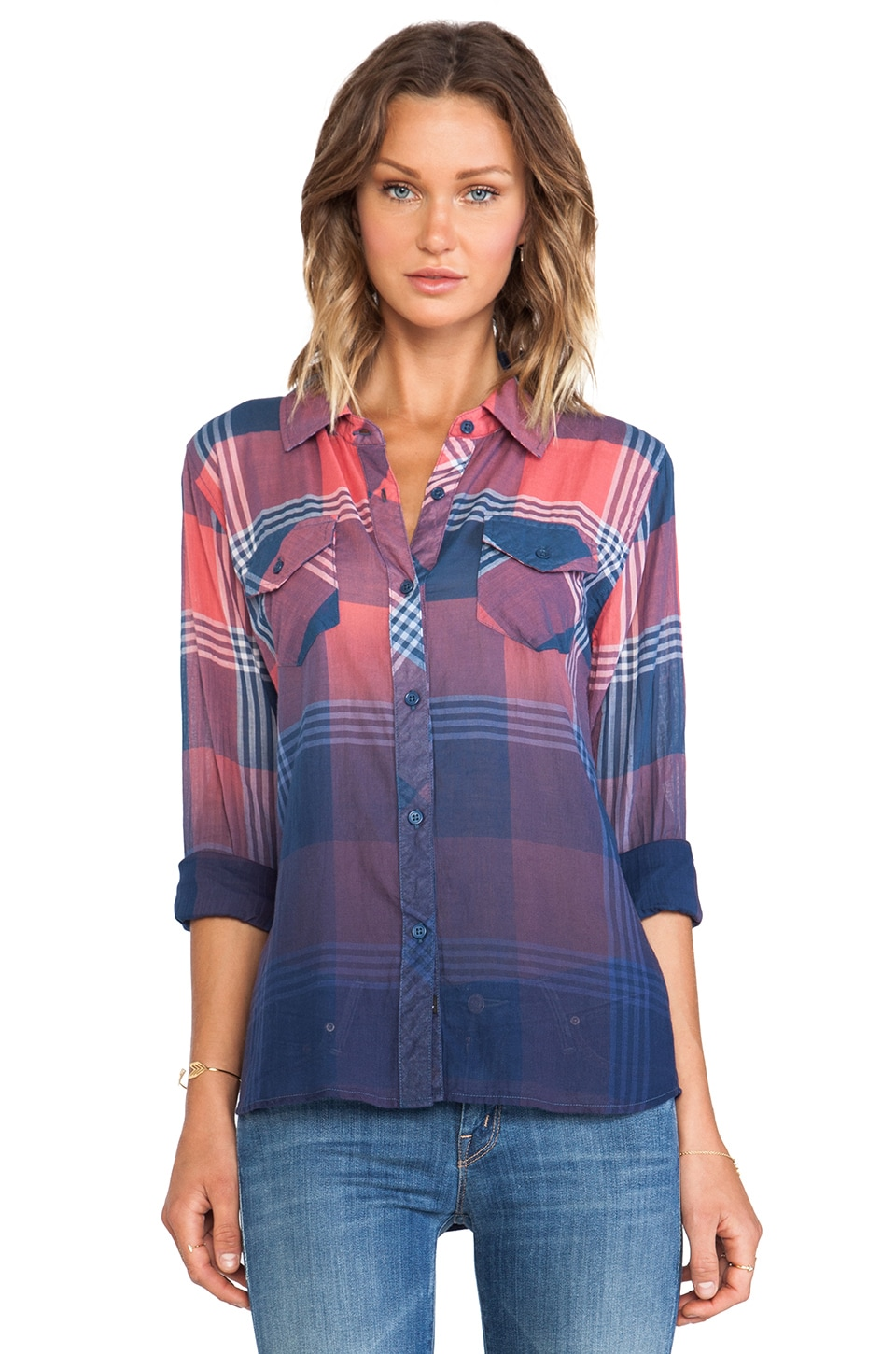 Rails Ashton Ombre Dye Button Down in Red & Blue
