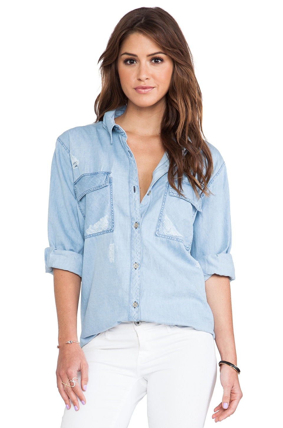 Rails Brendan Boyfriend Denim Button Down in Distressed Wash