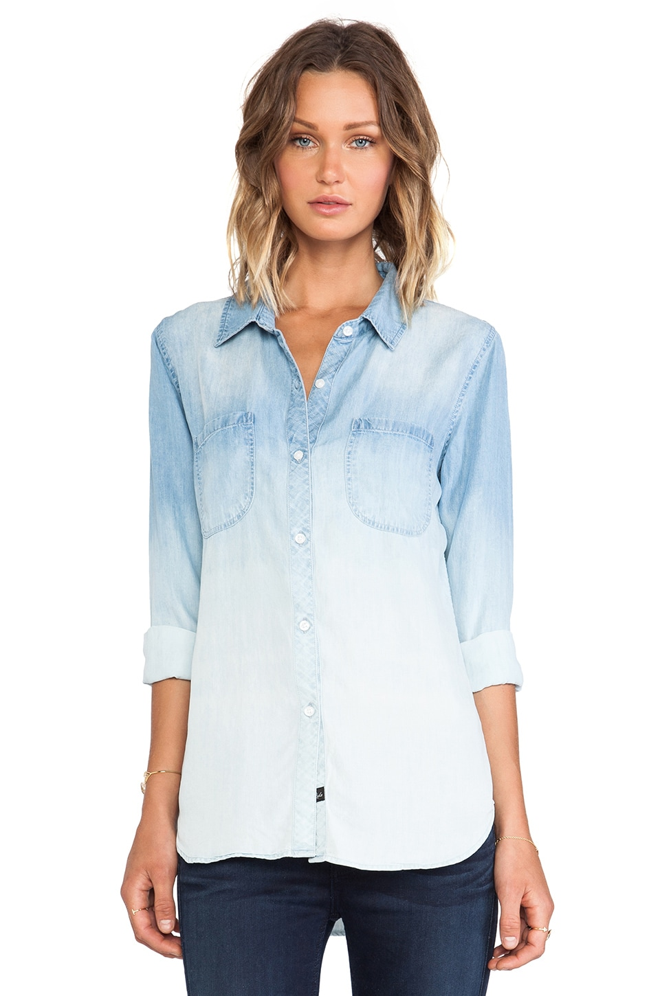 Rails Carter Denim Button Down in Ombre Denim
