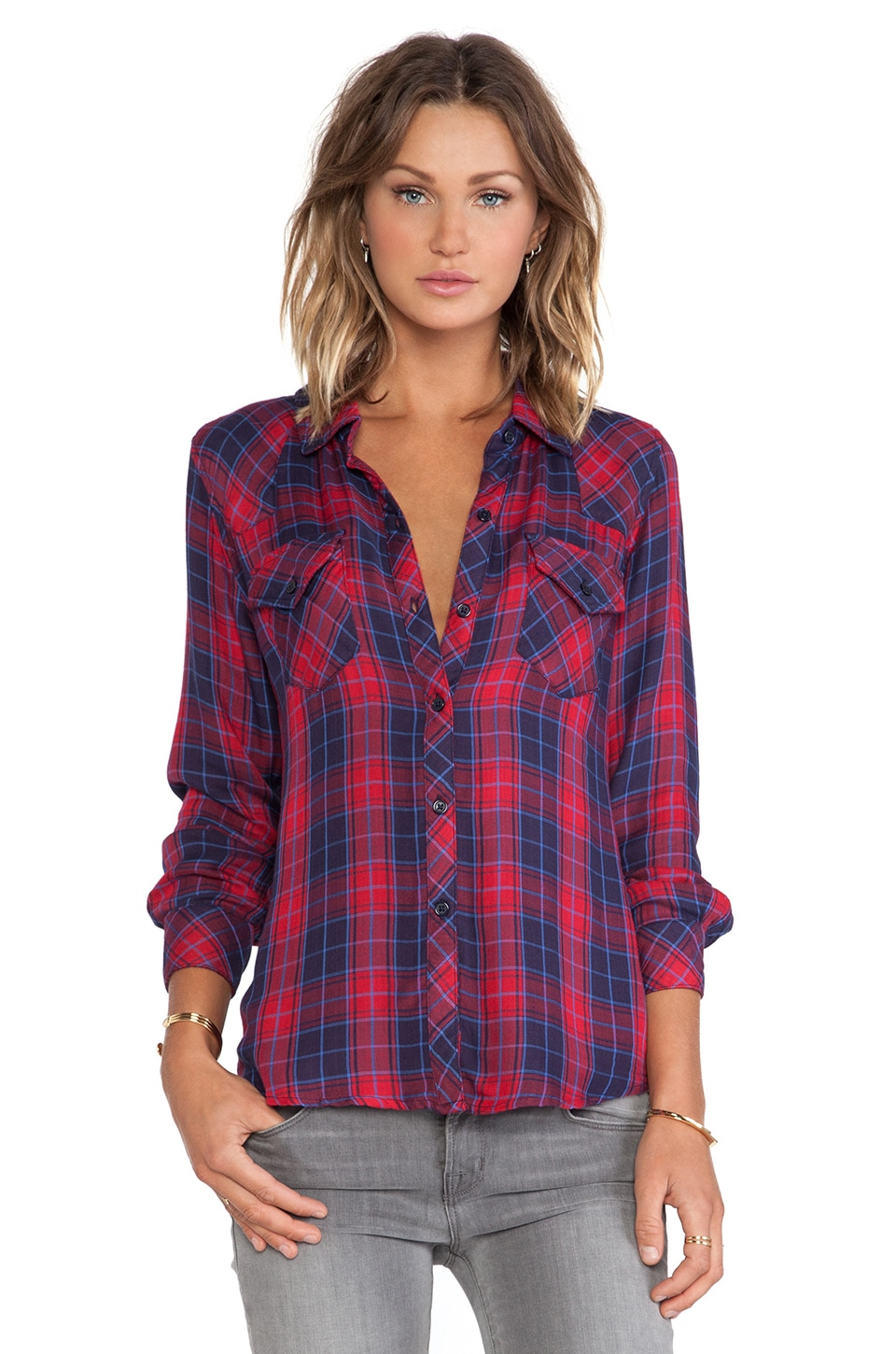 Rails Kendra Button Down in Candy Apple & Navy