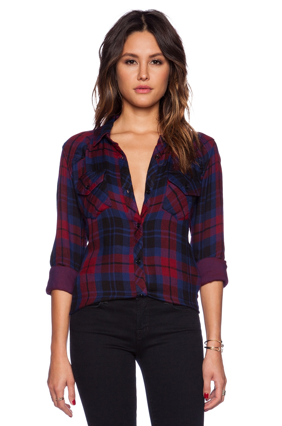Rails Kendra Button Down in Garnet & Black