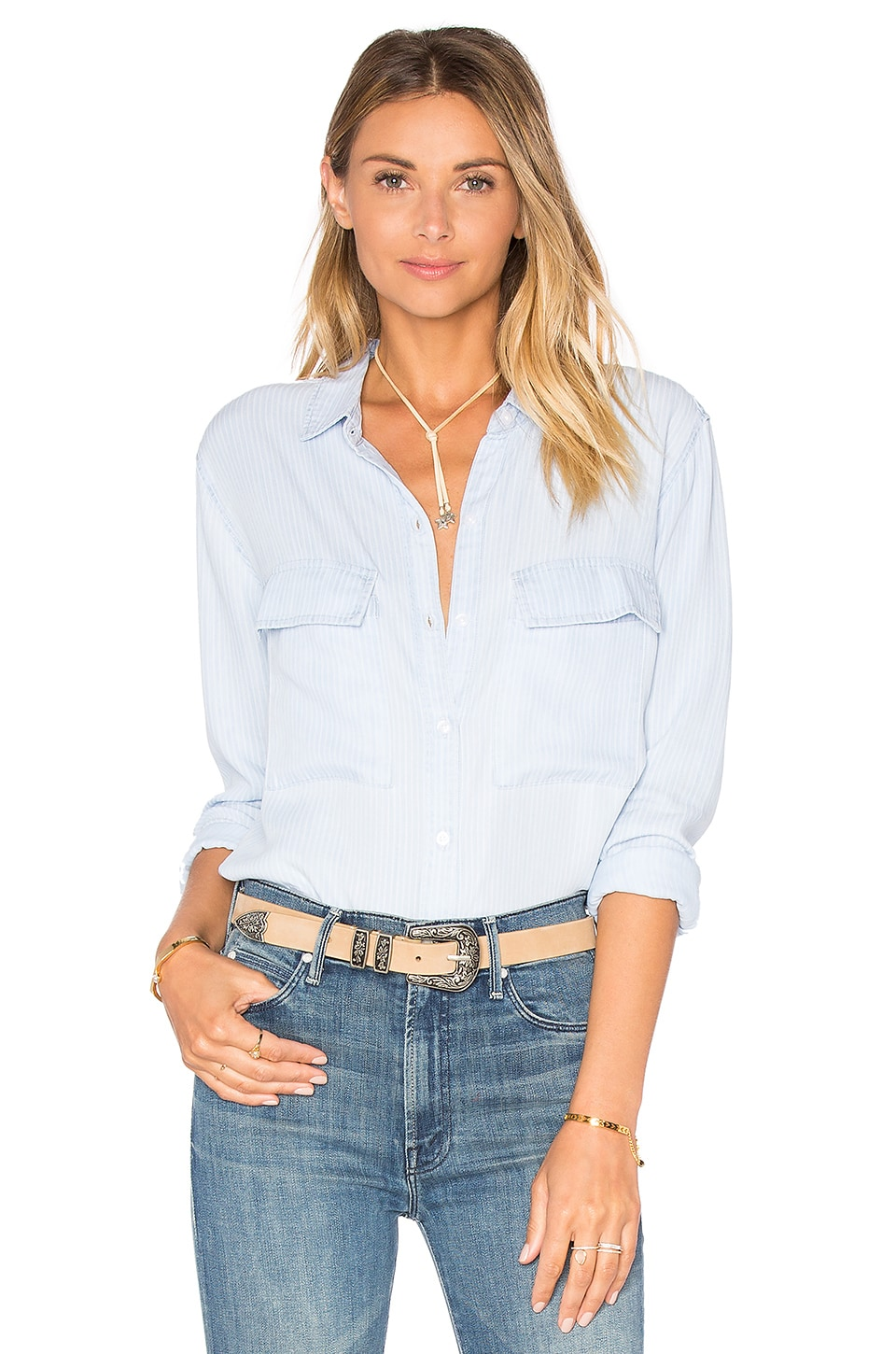 Rails Daphne Button Down in Railroad Stripe
