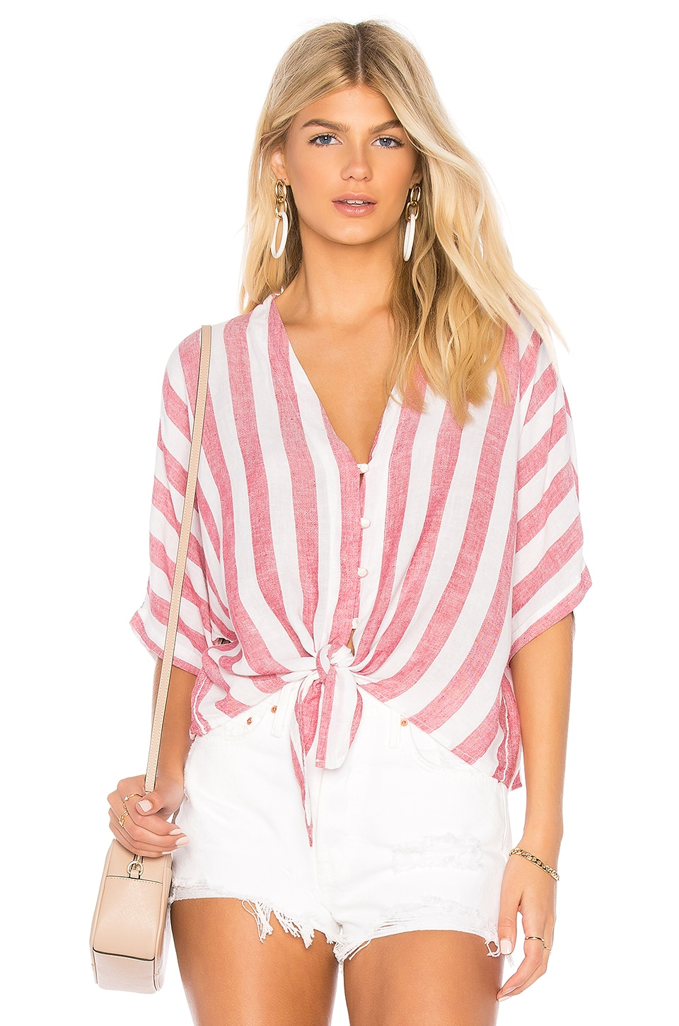 Rails Thea Tie Front Button Up in Seville Stripe
