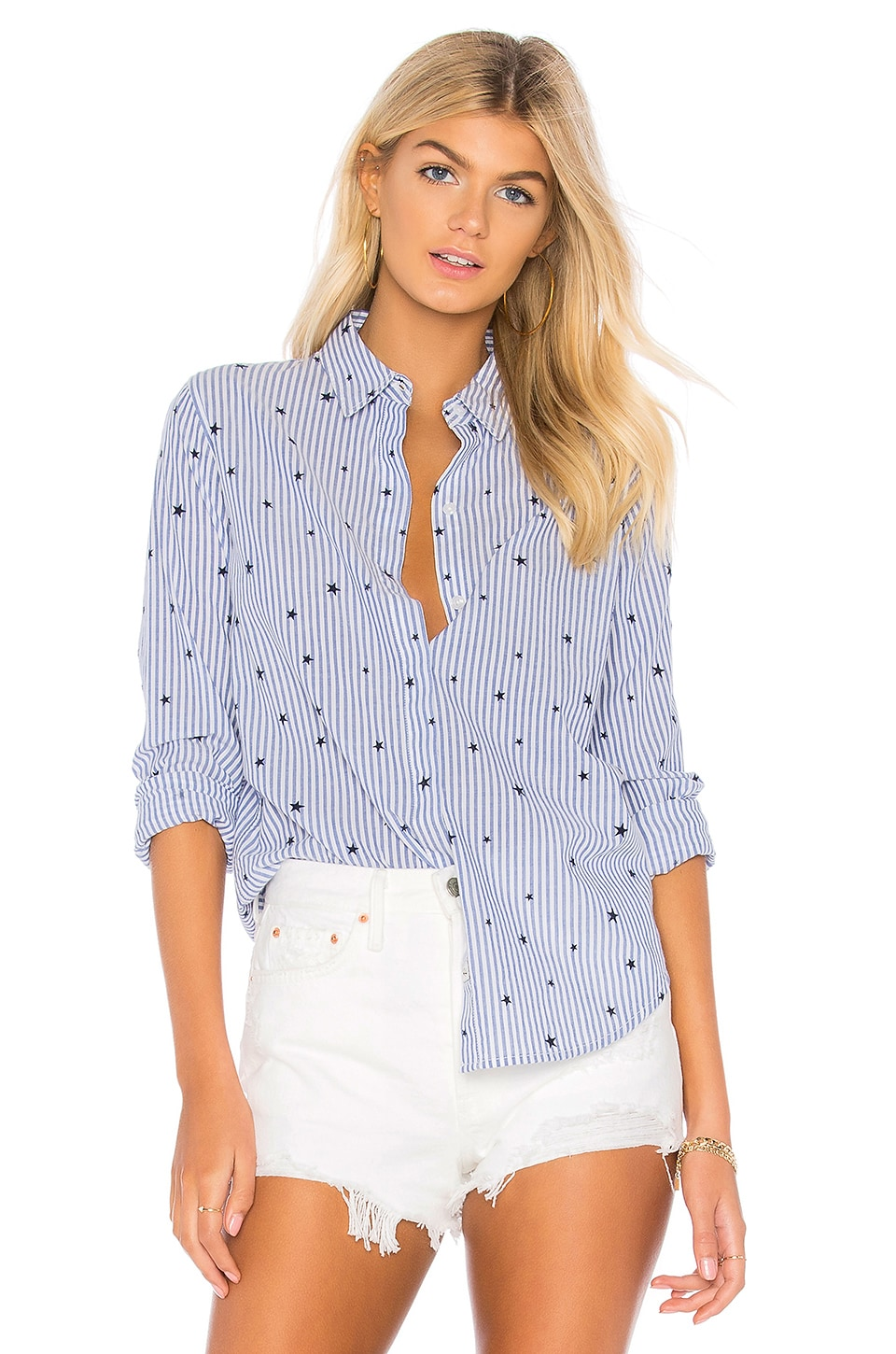 Rails Taylor Button Down in Flocked Navy Stars