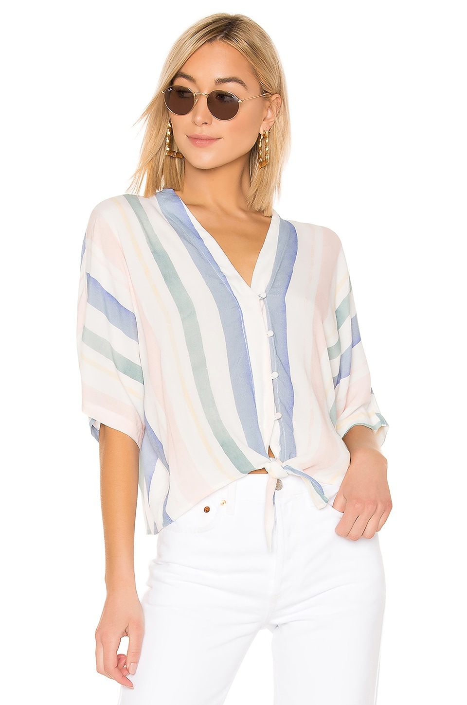 Rails Thea Button Down Top en Pastel Watercolor Stripe