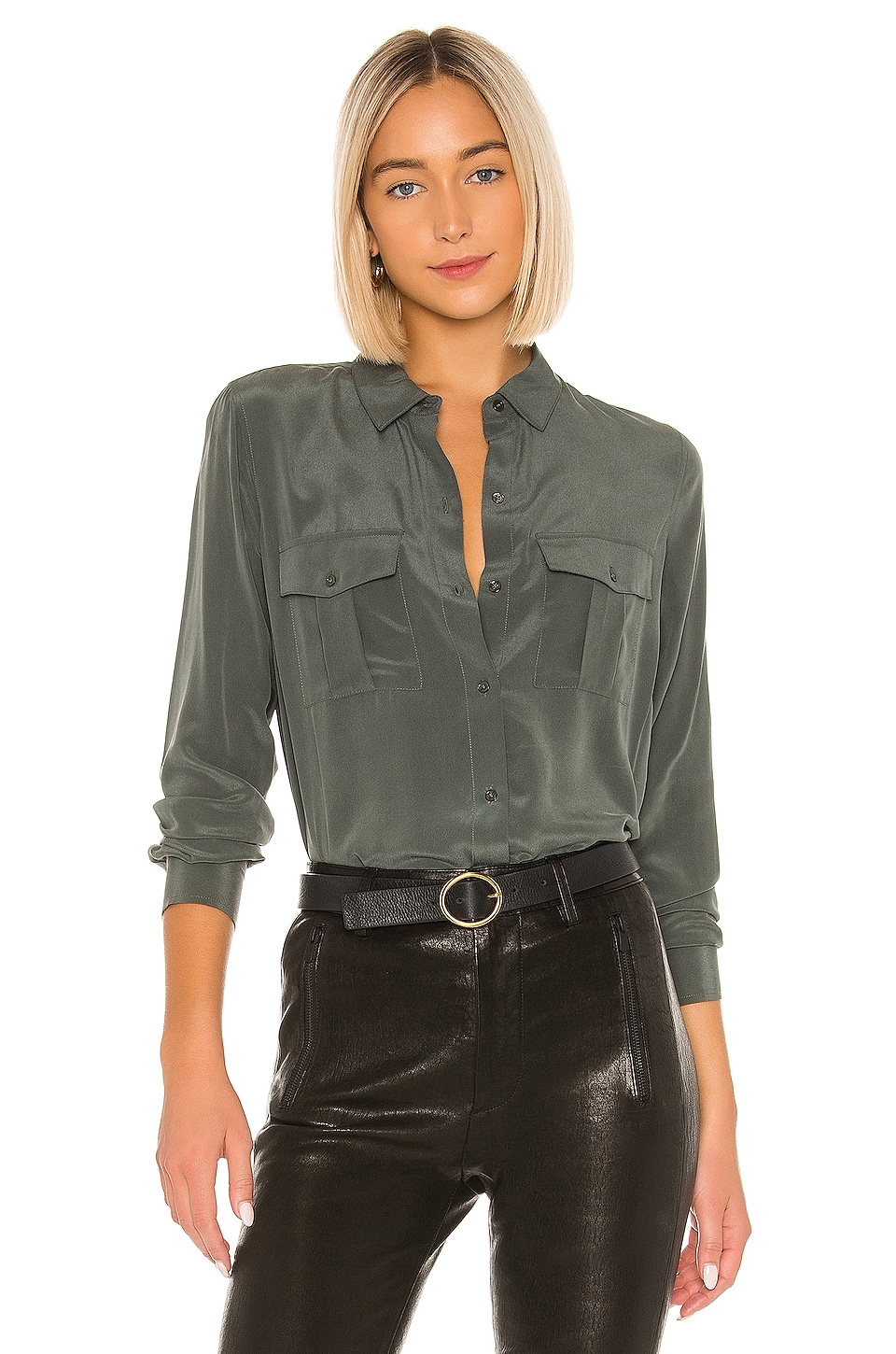 Rails Rhett Silk Button Down in Evergreen