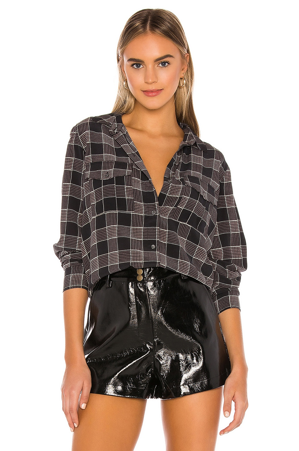 Rails Rhett Silk Blouse in Oxford Plaid