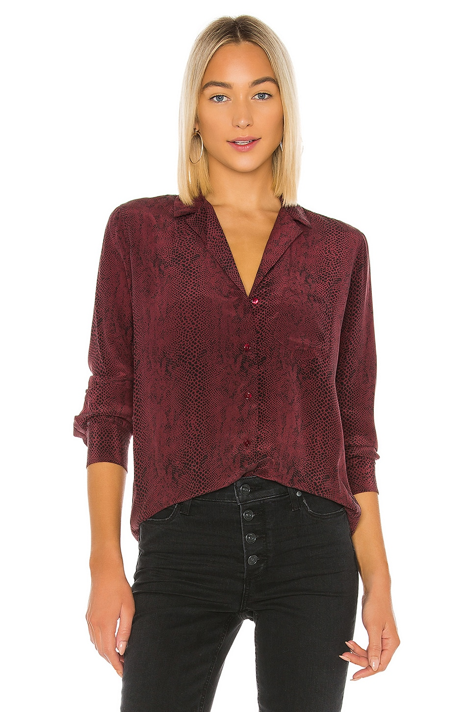 Rails Rebel Silk Blouse in Red Python