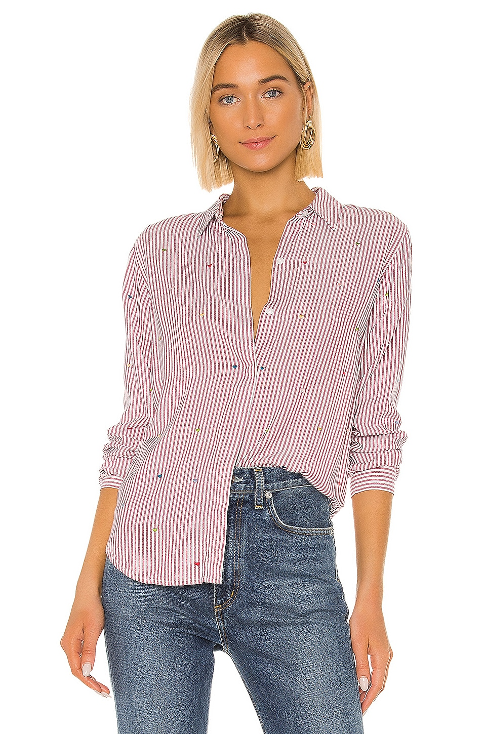 Rails Taylor Button Down in Marsielle Stripe Rainbow Hearts