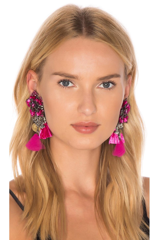 Ranjana Khan Flower Earring in Pink