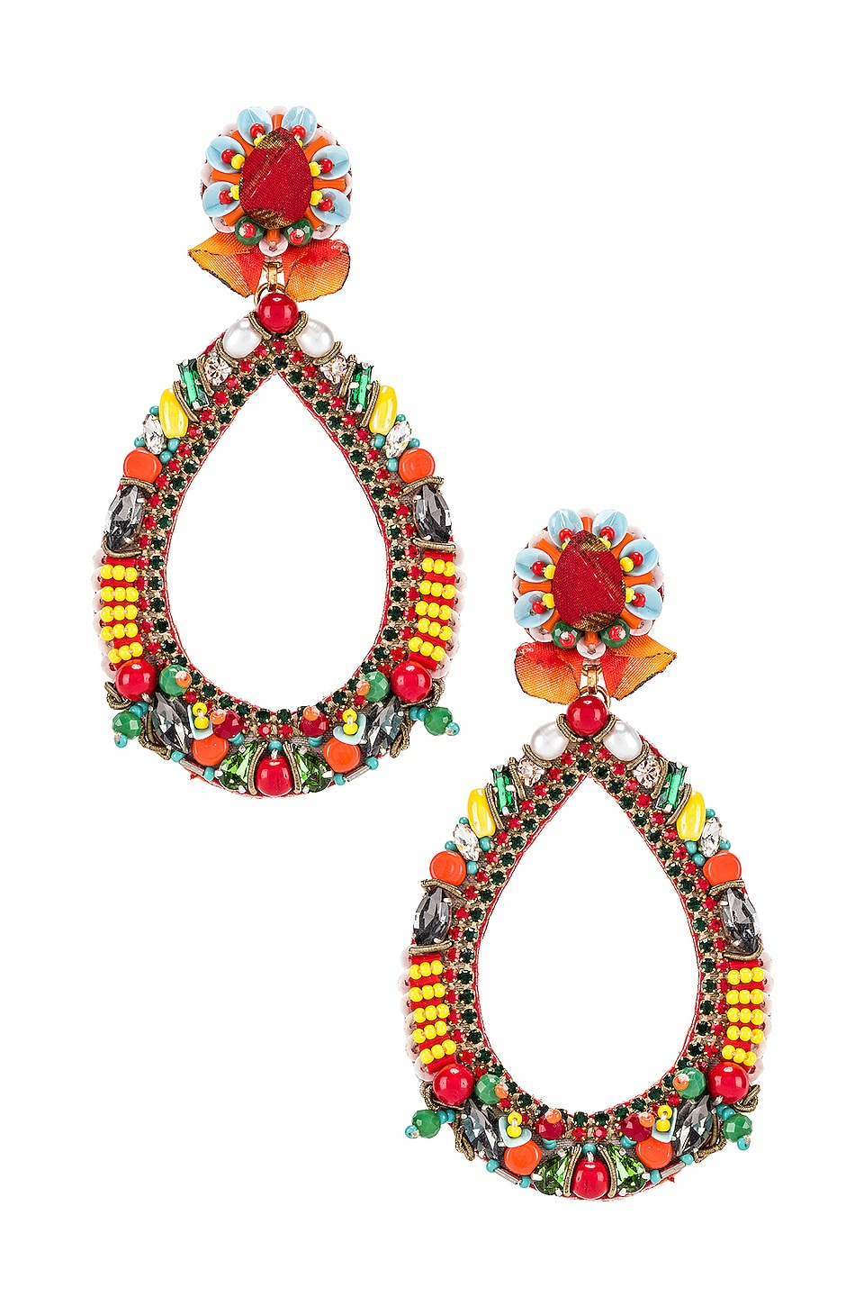 Ranjana Khan Fiesta Teardrop Earring in Red