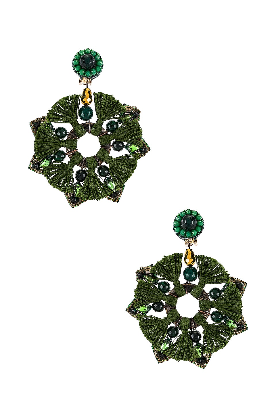 Ranjana Khan Berenike Earrings in Green