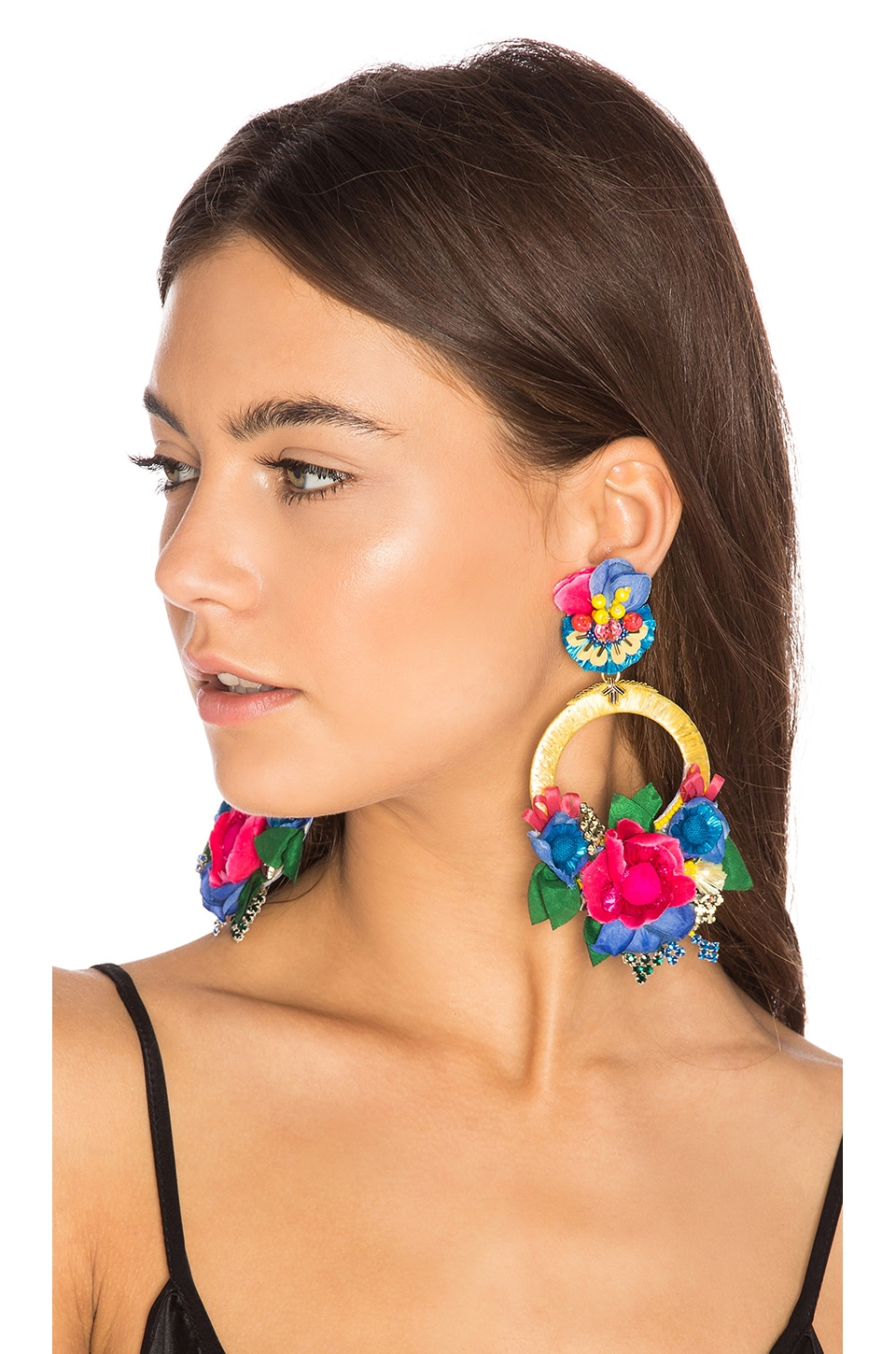 Ranjana Khan Flower Hoop Earring in Yellow & Blue
