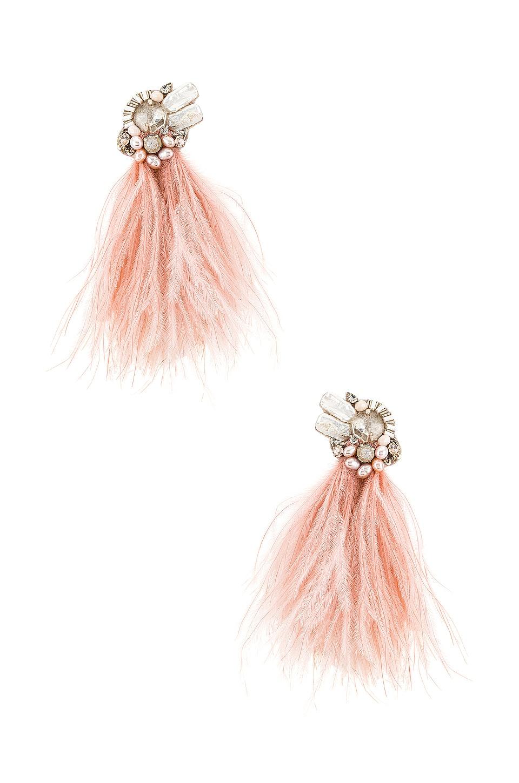 Ranjana Khan Ostrich Feather & Burnt Crystal Earrings in Blush Pink
