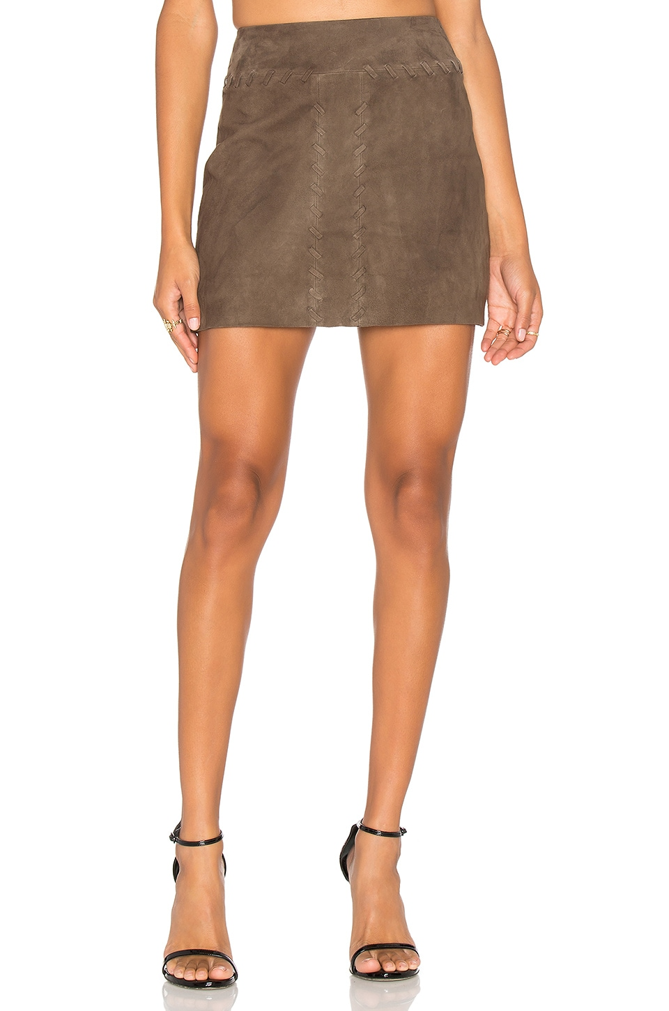 RAMY BROOK Juliana Suede Skirt in Mushroom