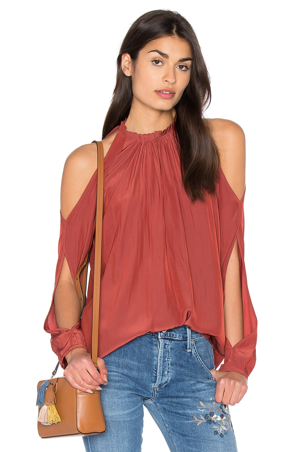 RAMY BROOK Milan Cold Shoulder Top in Cognac