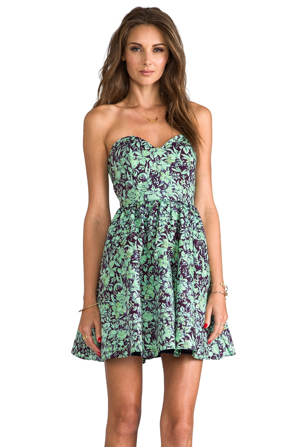 Rachel Antonoff Tracy Strapless Mini dress in Backyard Print