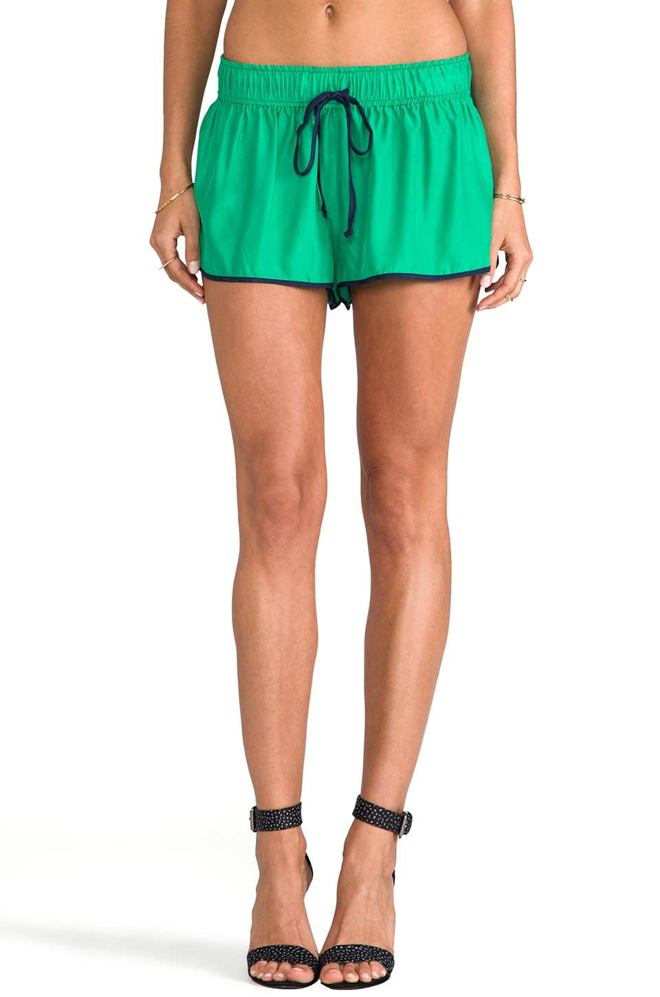 Rachel Antonoff Betsy Draw String Short in Green/ Midnight