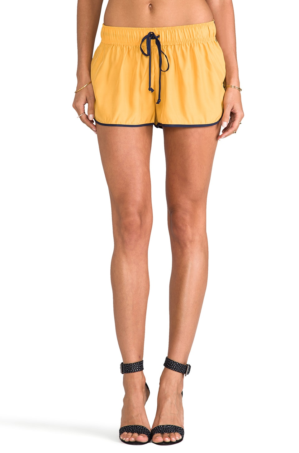 Rachel Antonoff Betsy Draw String Short in Mustard/ Midnight