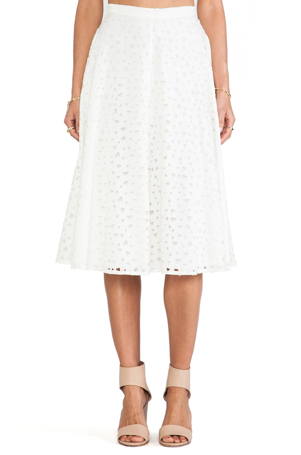 Rachel Antonoff Jason Skirt in Cream Swiss Cheese
