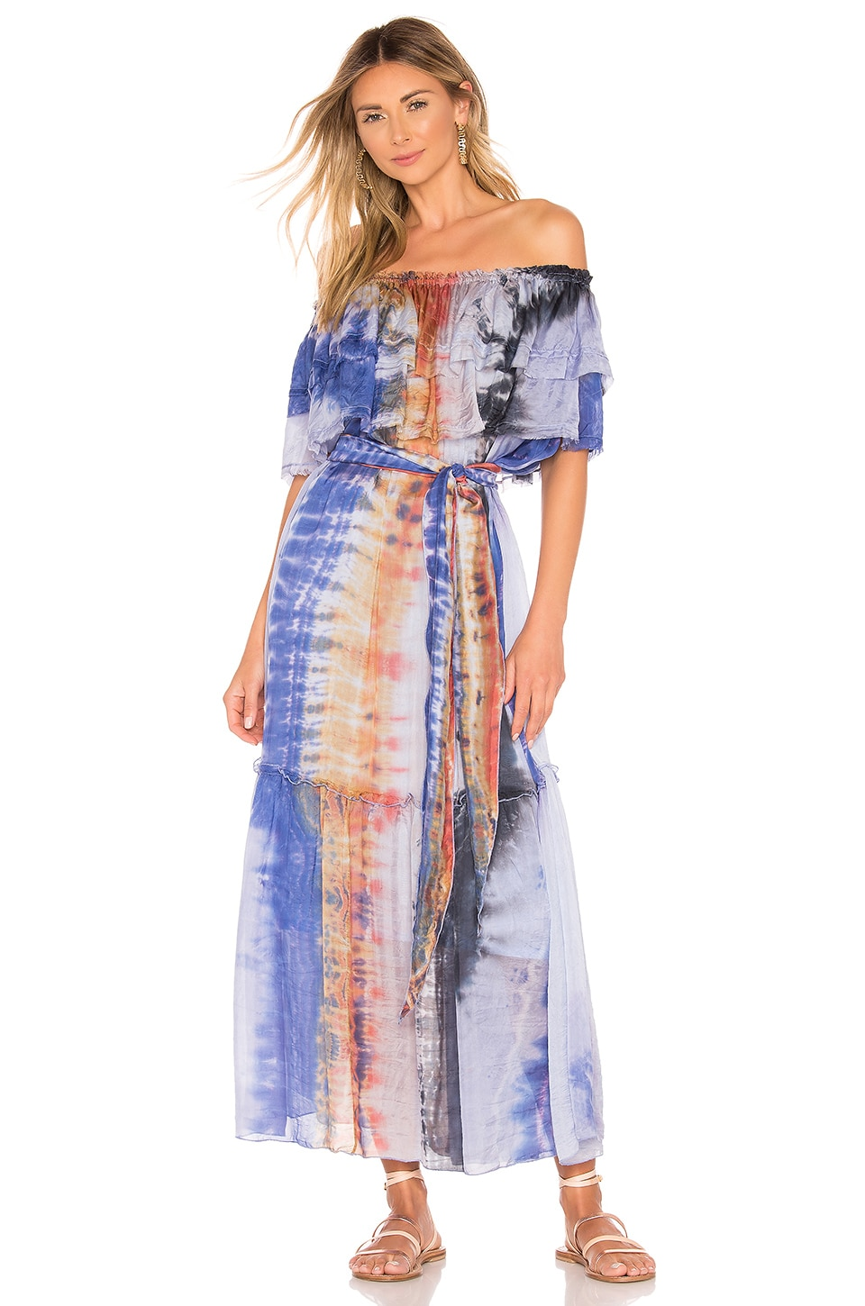 Raquel Allegra Dresses SILK RUFFLE MAXI DRESS