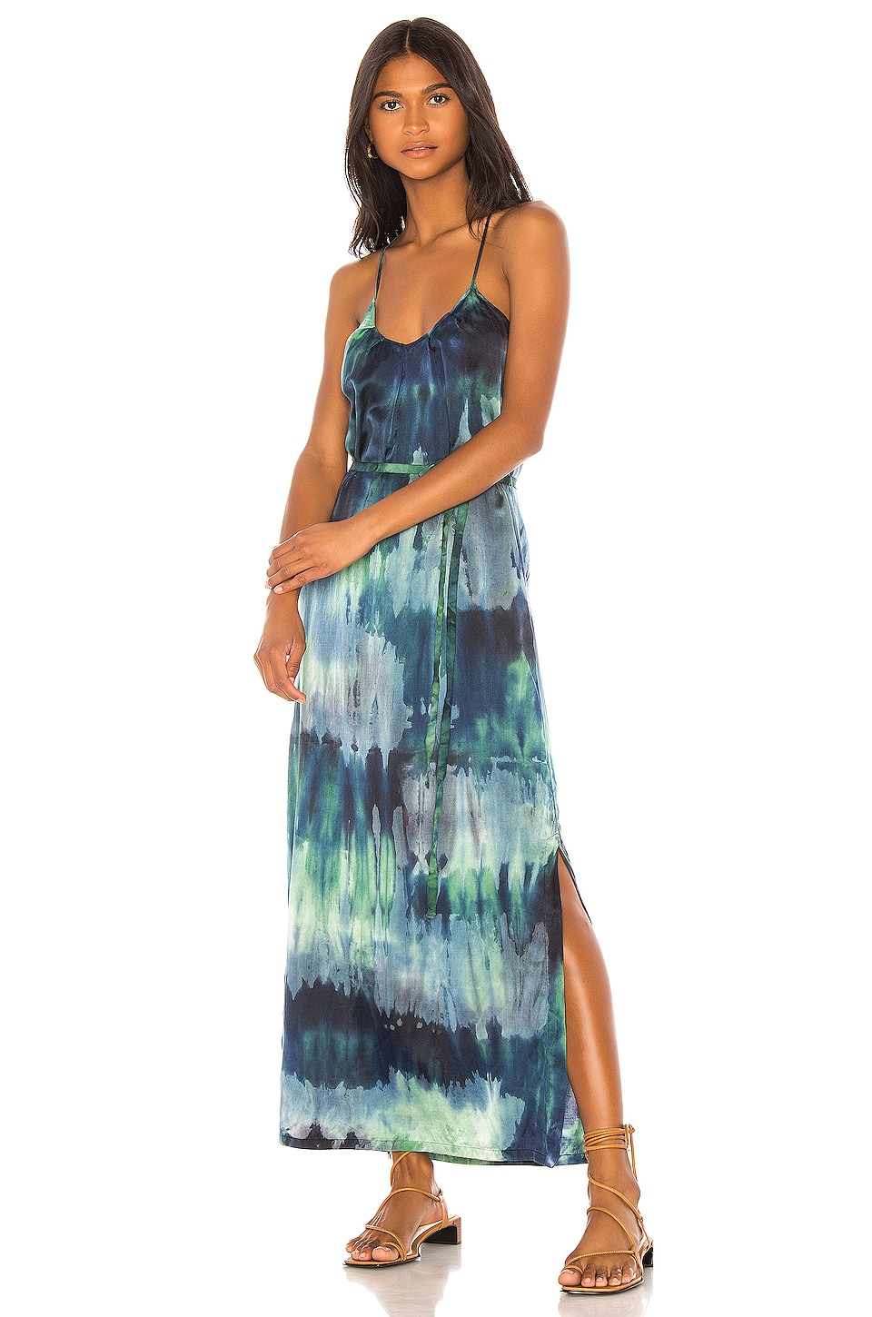 Raquel Allegra Pintuck Slip Dress in Jade Tie Dye