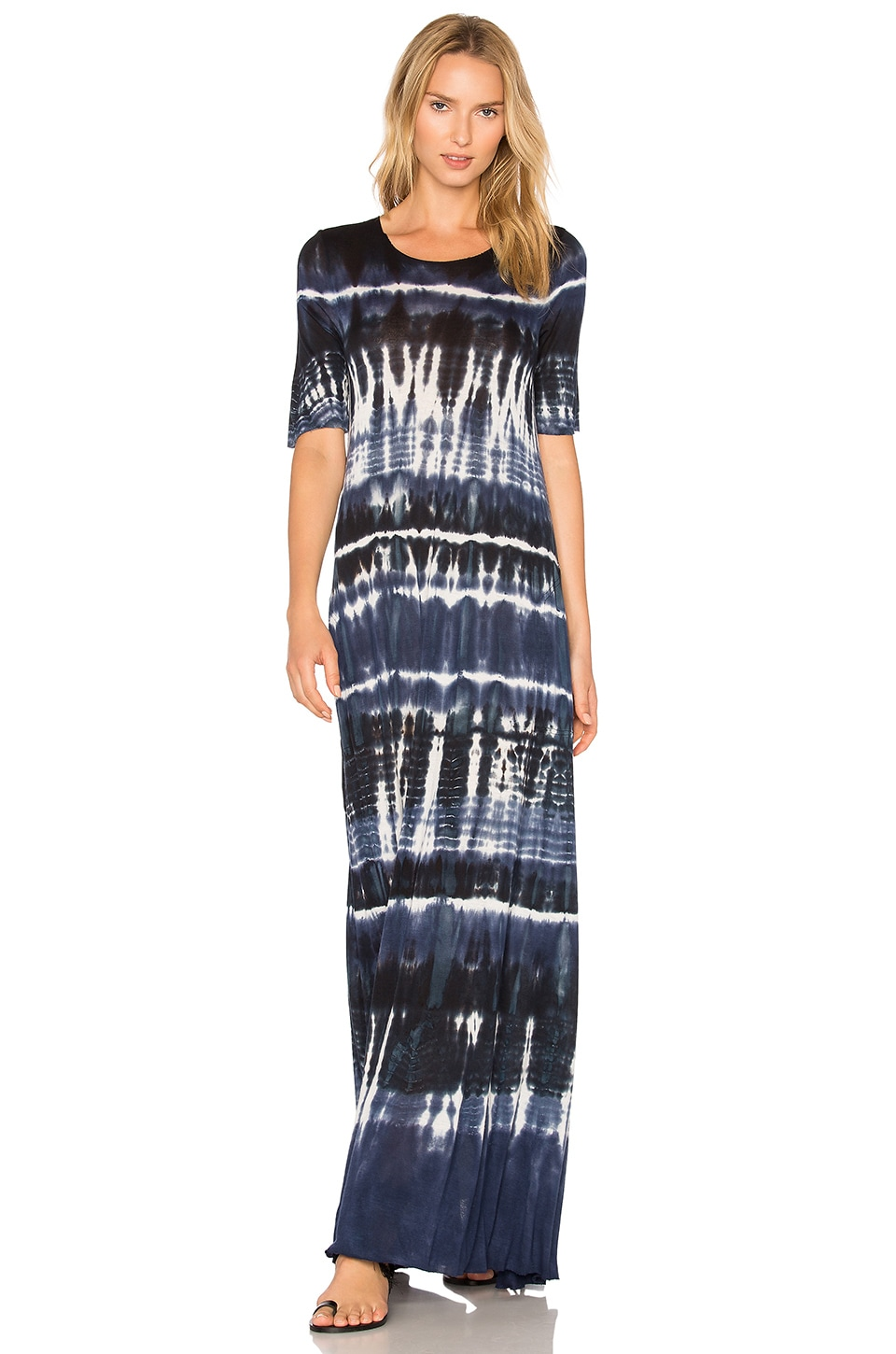 Raquel Allegra Drama Maxi Dress in Navy Tie Dye