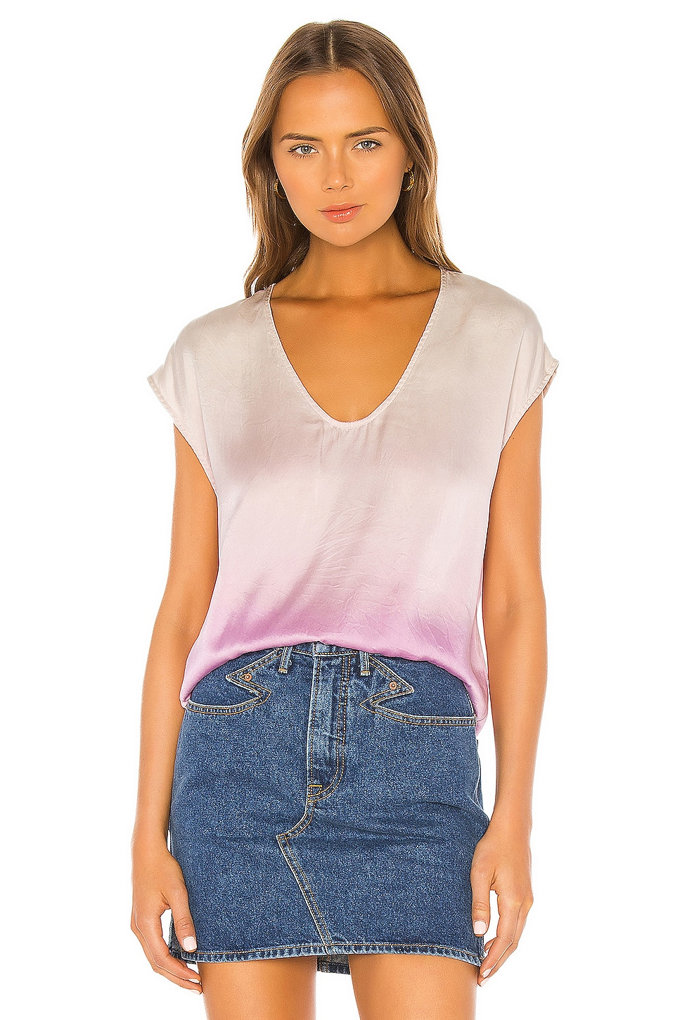 Raquel Allegra Perfect Shell Top en Orchid Tie Dye