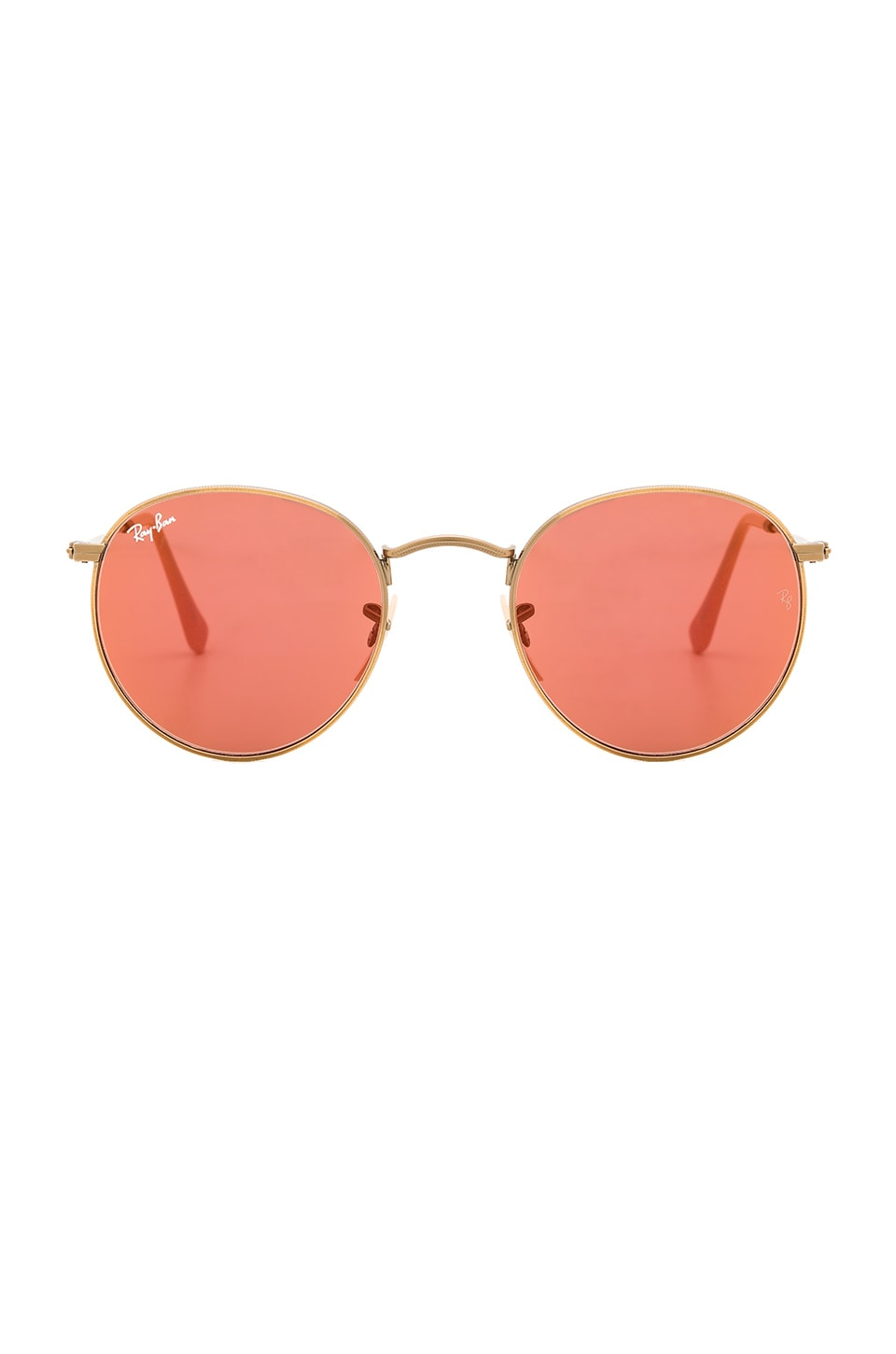 Ray-Ban Round Flash Lenses in Gold & Red Mirror