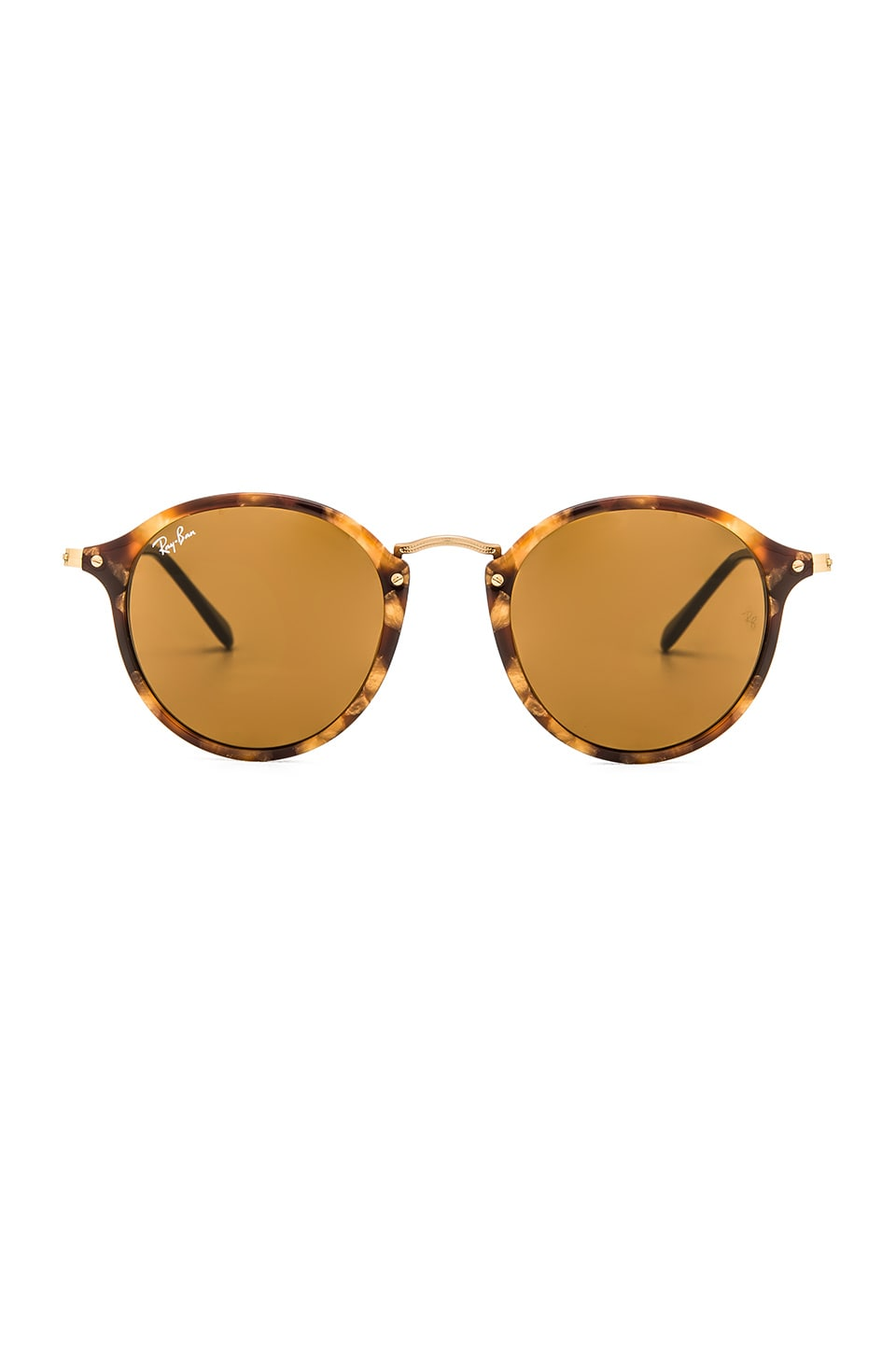 Ray-Ban Round Fleck in Tortoise & Brown Classic B-15