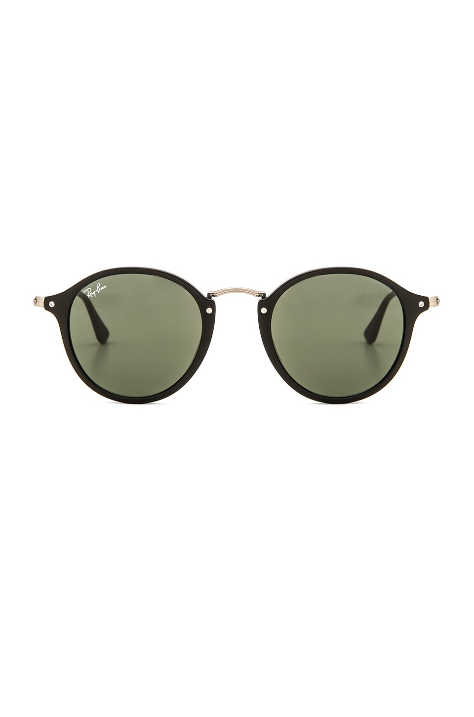 Ray-Ban Round Fleck in Black & Green Classic G-15