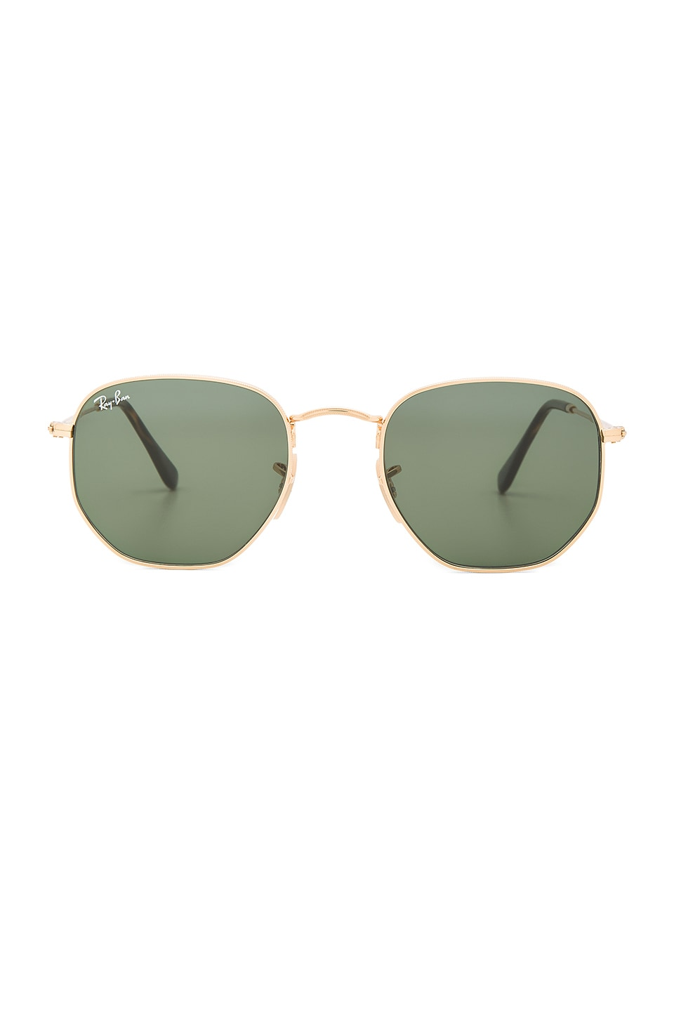 Ray-Ban Hexagonal Flat in Gold & Green Classic