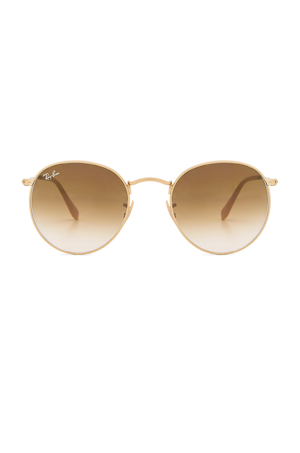 Ray-Ban Round Metal in Matte Gold & Clear Gradient Brown
