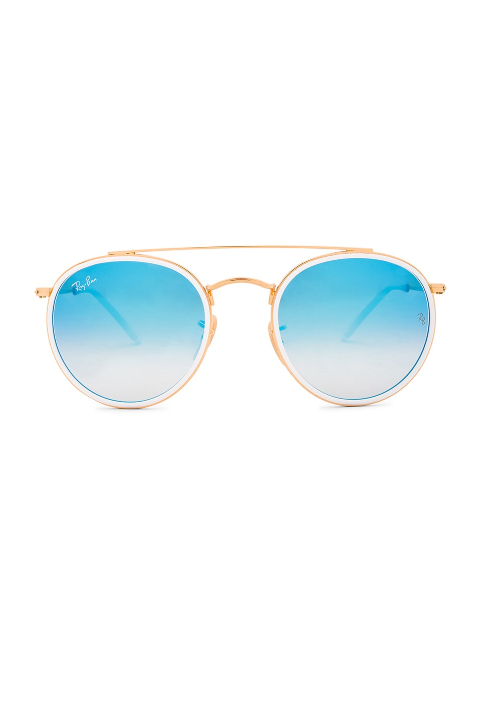 Ray-Ban Round Double Bridge in Gold & Blue Gradient Flash