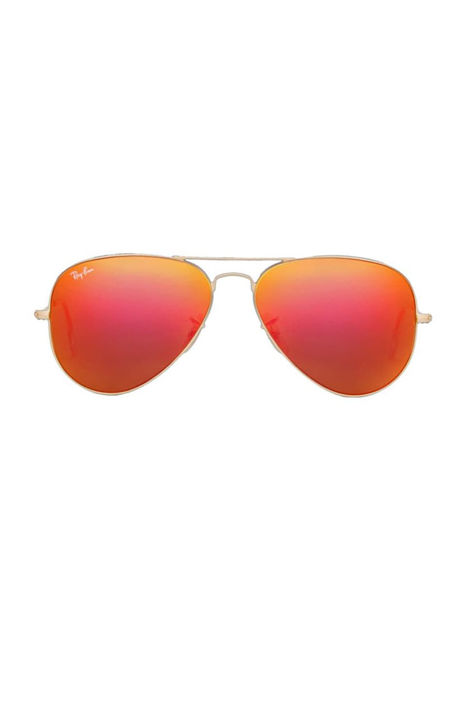 Ray-Ban Metal Flash Lense Aviator in Matte Gold & Orange Flash