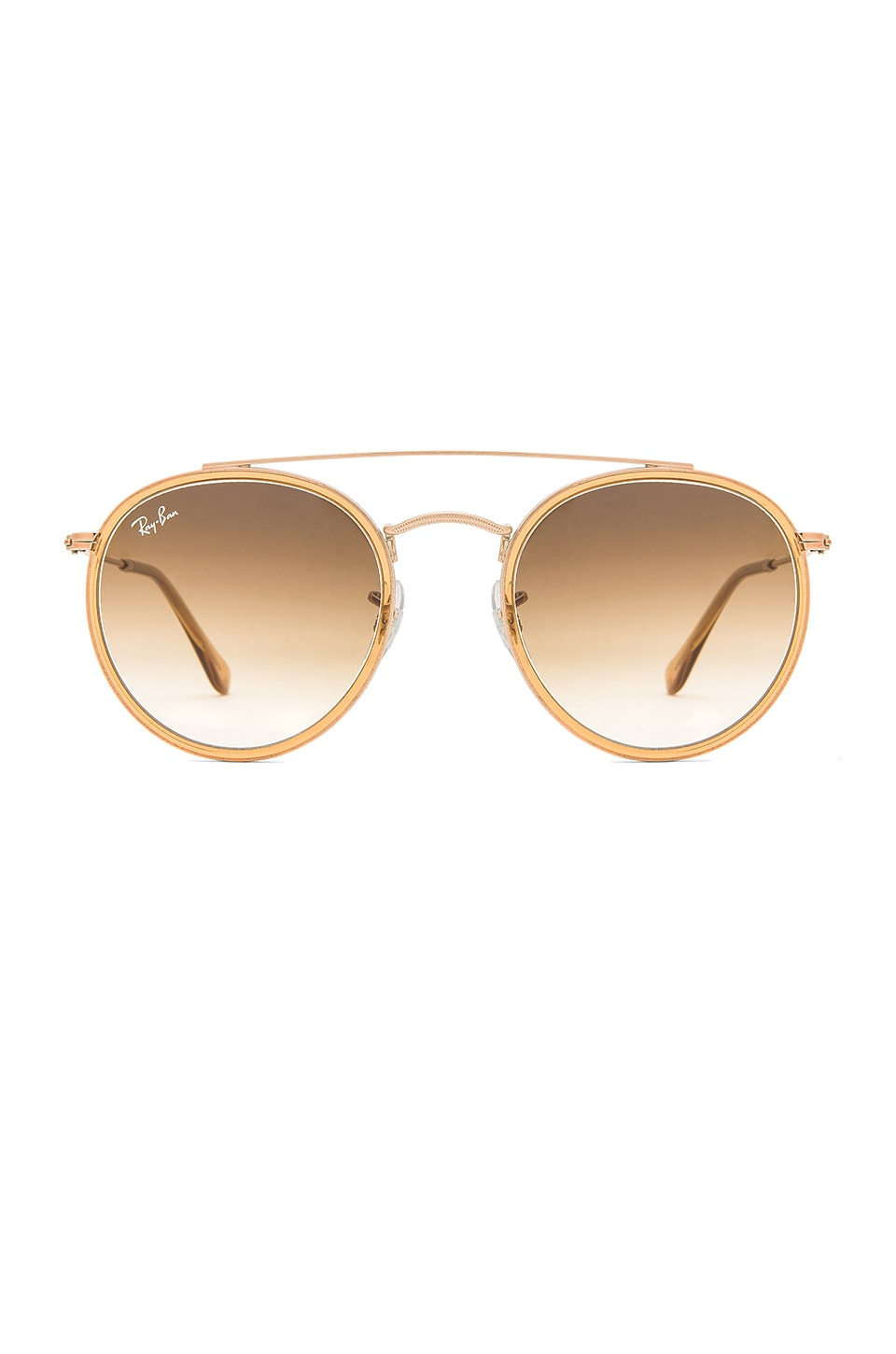 Ray-Ban Round Double Bridge in Light Brown & Brown Gradient