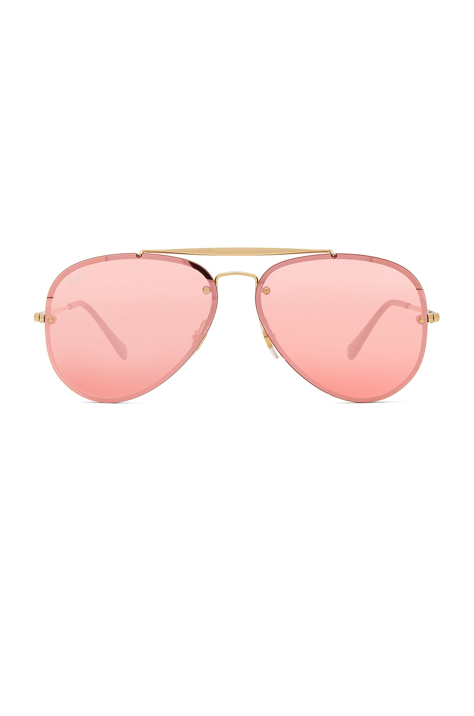 Ray-Ban Blaze Aviator in Gold & Pink Mirror
