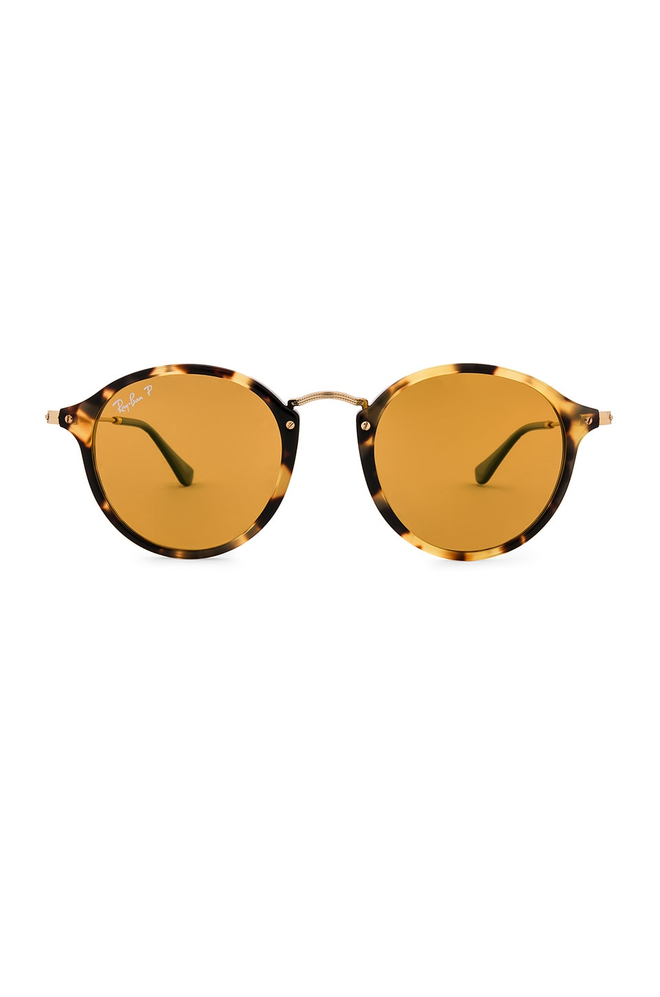 Ray-Ban Round Fleck Pop in Yellow Havana, Gold & Yellow