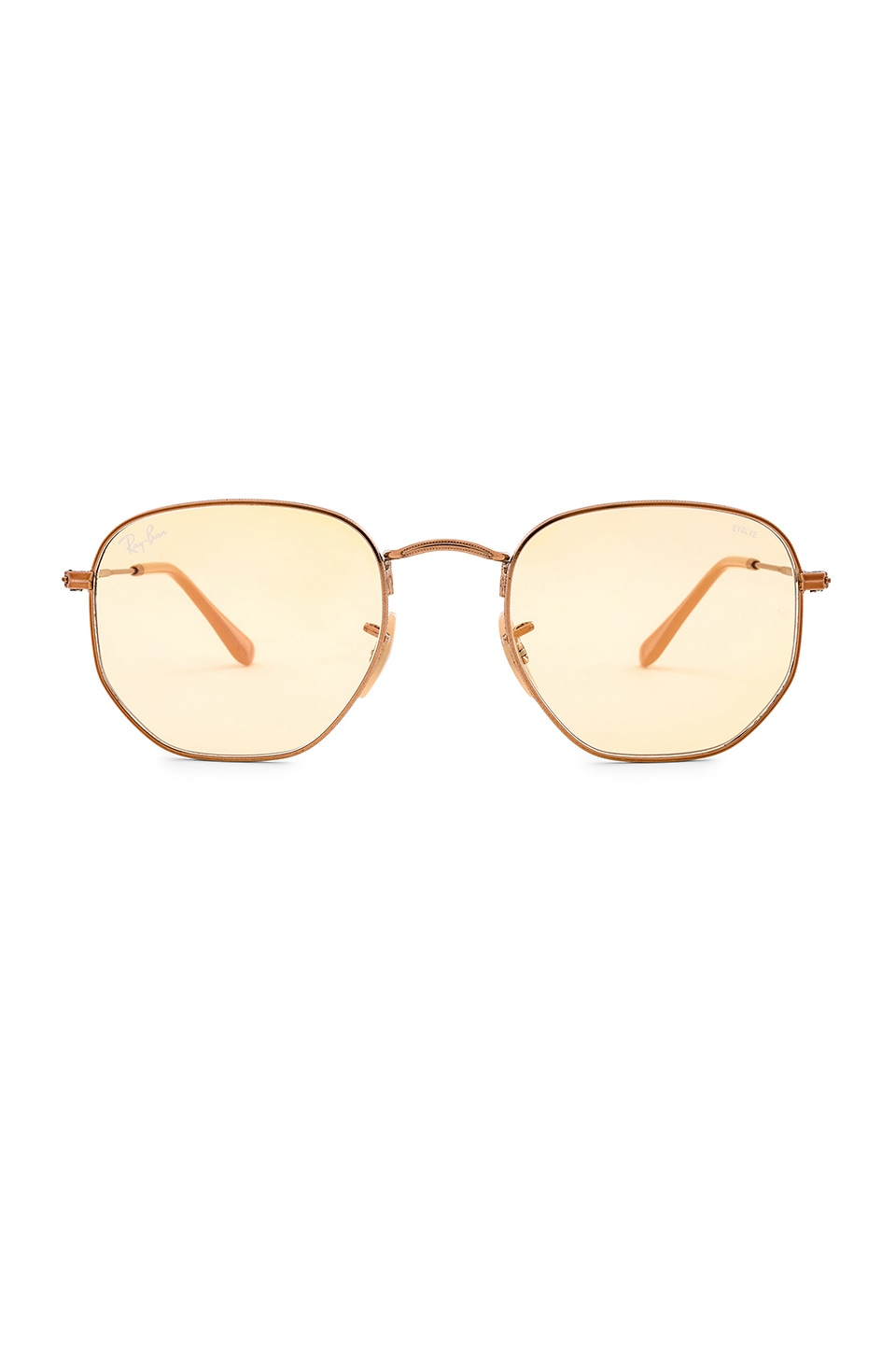 Ray-Ban Evolve Hexagonal Flat in Copper & Light Yellow