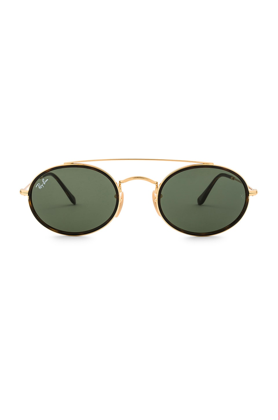 Ray-Ban Oval Double Bridge in Gold & Green