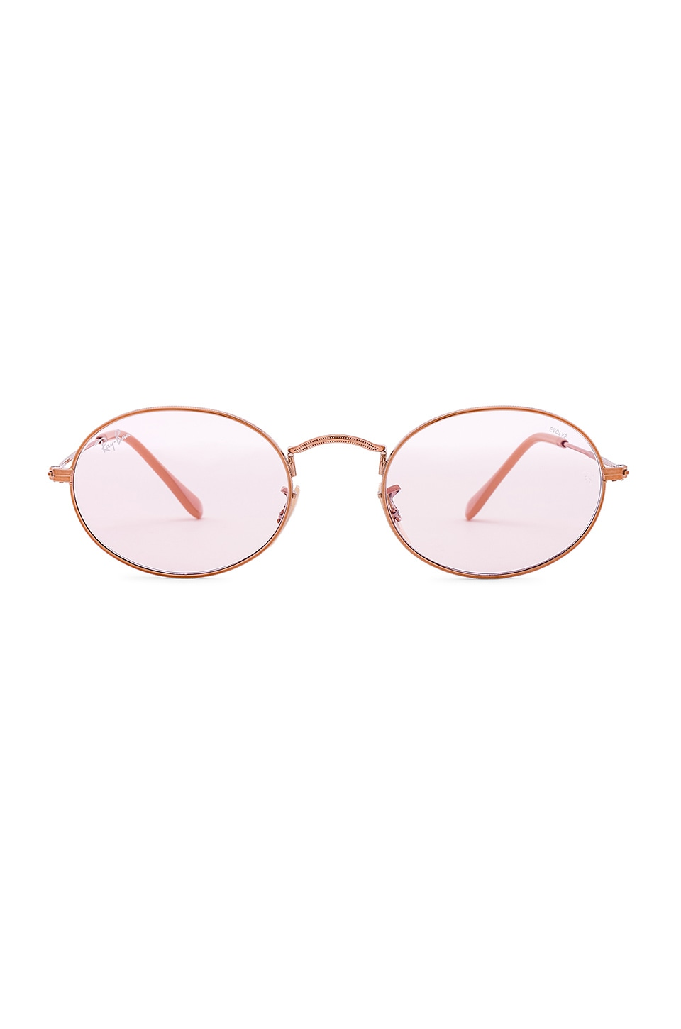 Ray-Ban Evolve Oval Flat in Copper & Light Pink