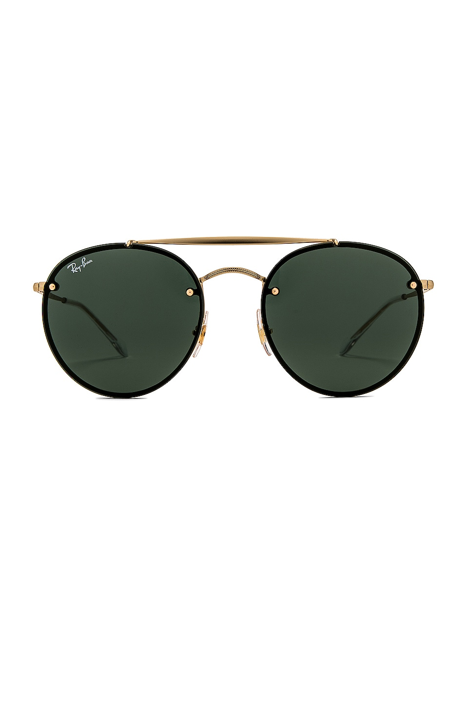Ray-Ban Blaze Double Bridge in Demi Gloss Gold & Dark Green