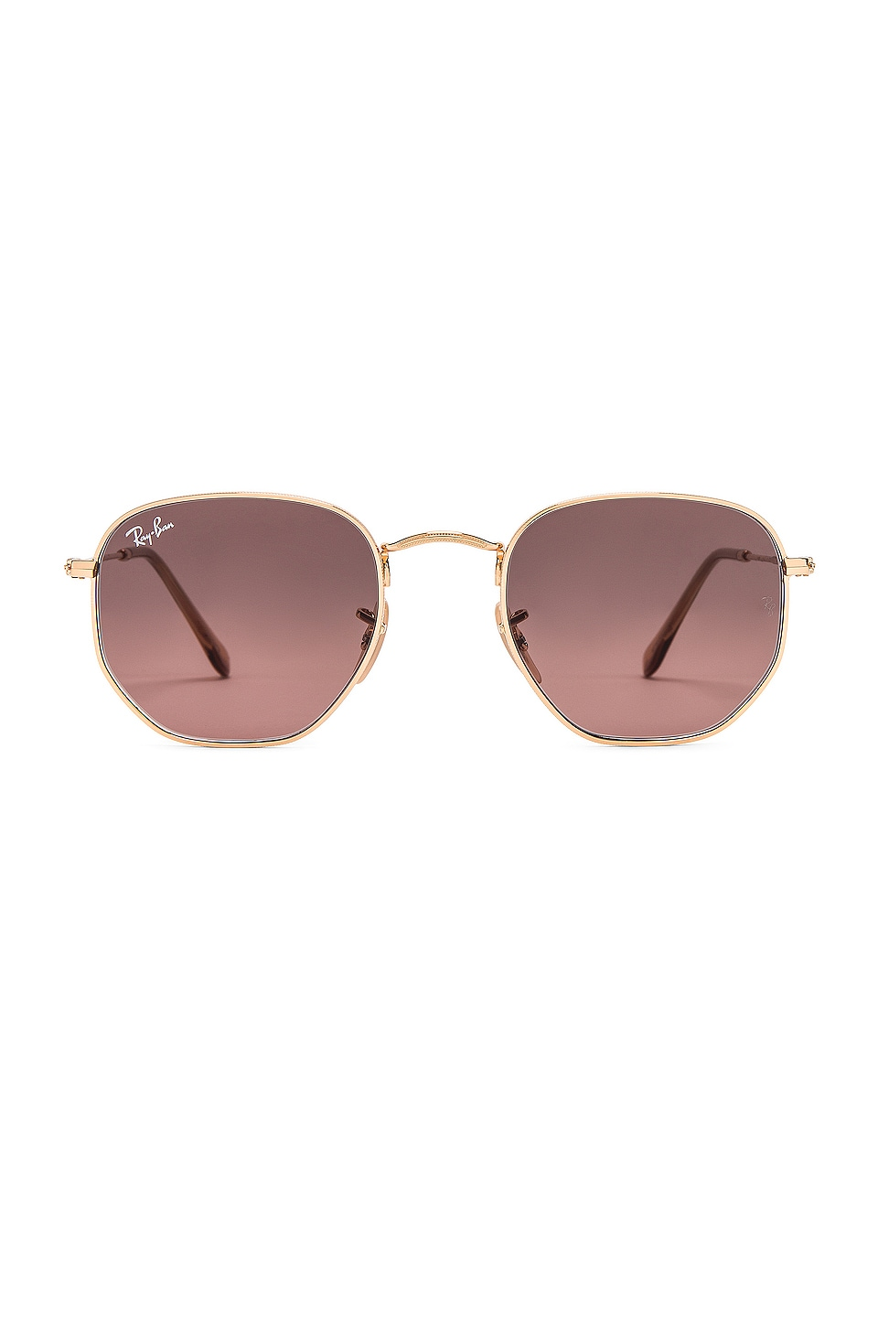 Ray-Ban Hexagonal Flat in Gold & Brown Grey Gradient