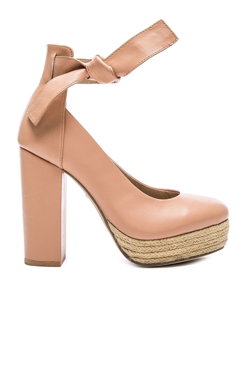 RAYE x For Love & Lemons Harper Heel in Nude Leather