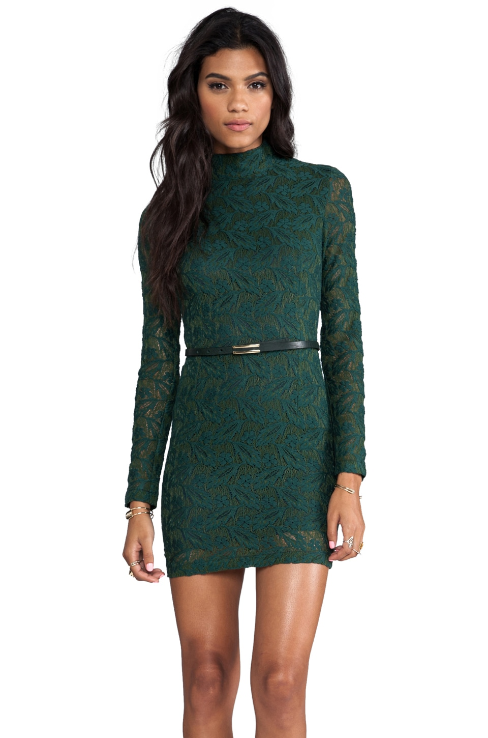 ROSEanna Harlem Duchess Long Sleeve Dress in Green Mousse