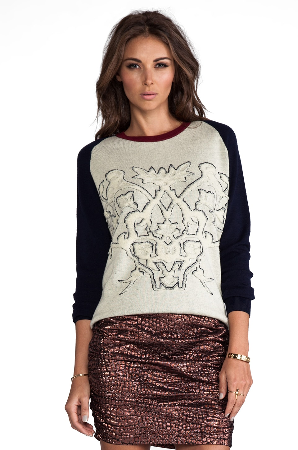 ROSEanna Luke Tenenbaum Embroidered Pullover in Paille